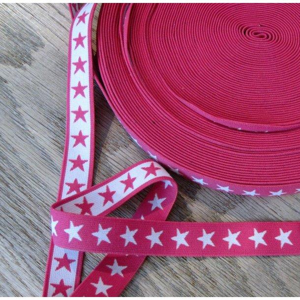 Elastik, Pink m. hvide stjerner, 2 cm