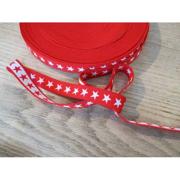 Elastik, Rød m. hvide stjerner, 2 cm