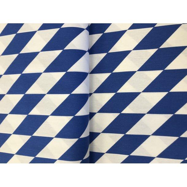 100 % BOMULD FAST, Harlekin tern i blå og hvid - 69 kr. pr. m.