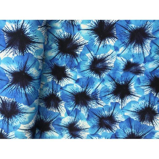 Bomulds jersey, Blå blomst