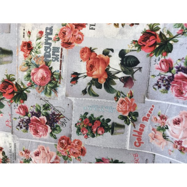 Fast bomuld canvas, romantisk print med roser