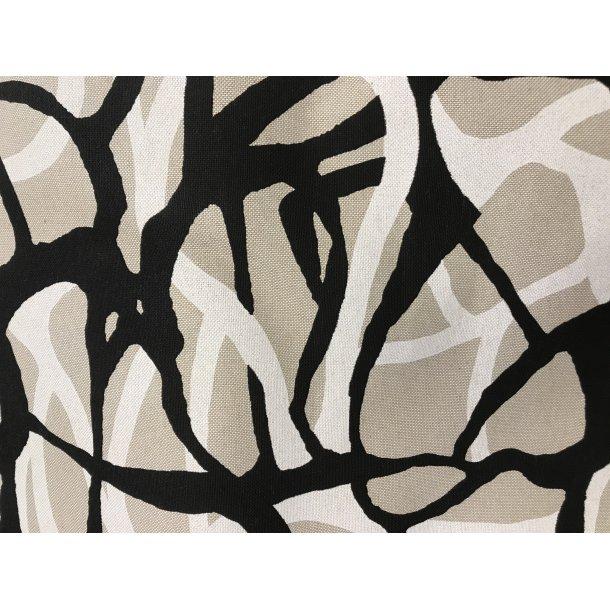 Fast bomuld canvas, sort sand og hvidt grafisk print