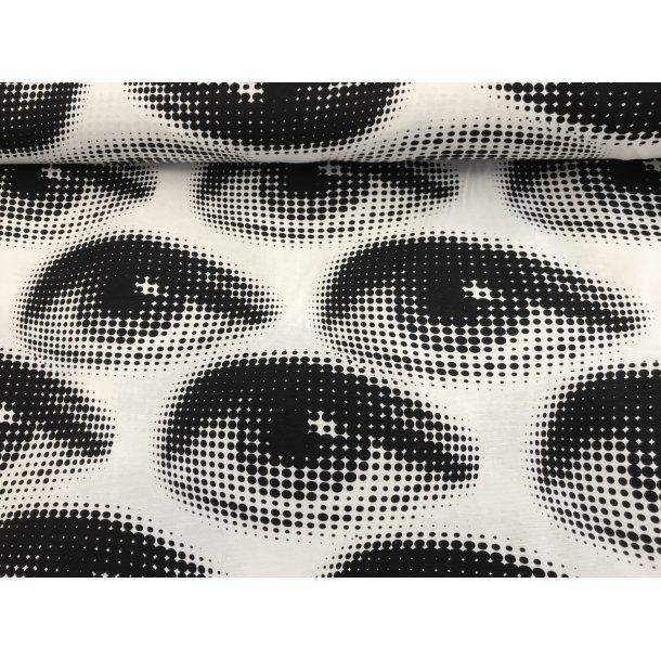 Fast bomuld canvas, hvid bund med øjne i sort