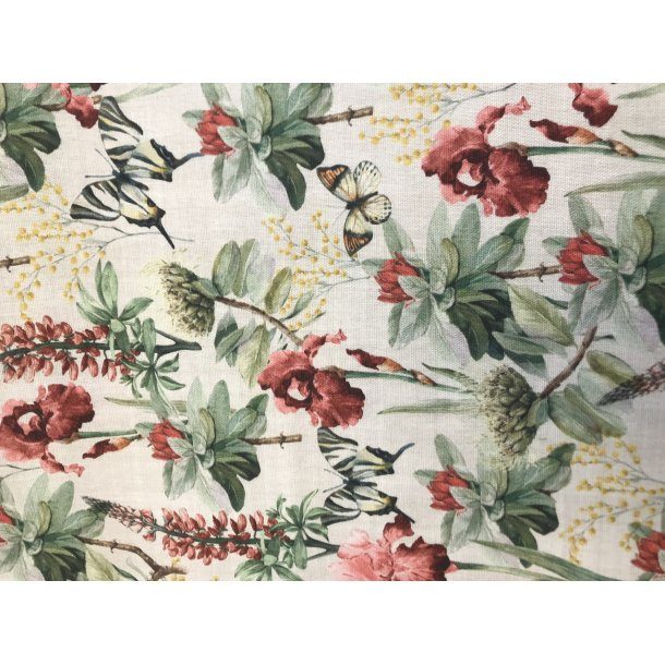 Canvas fast bomuld, blomster i duch farver. REST 65 x 140 cm
