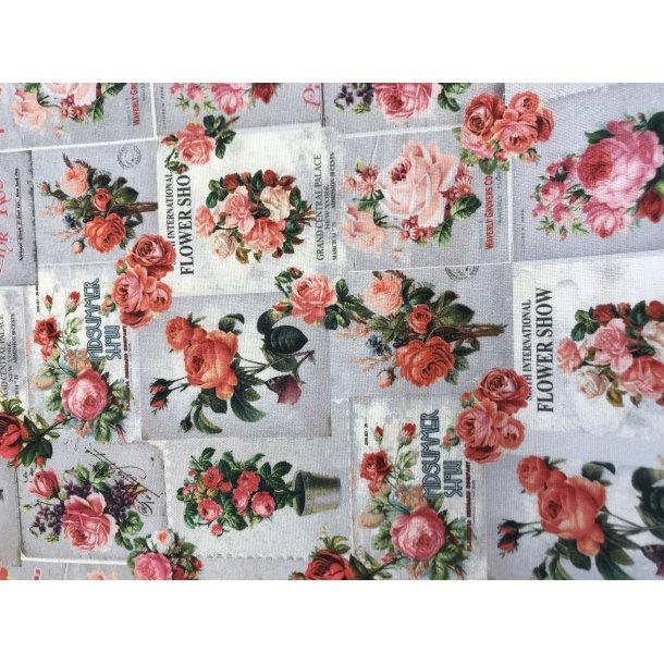 Canvas fast bomuld, roser i firkanter