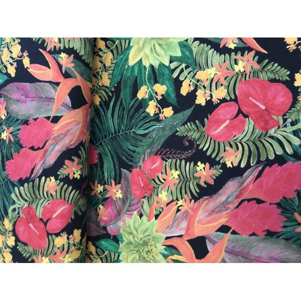 Canvas fast bomuld, klare farver blomster, på mørk bund. REST 75 x 140 cm