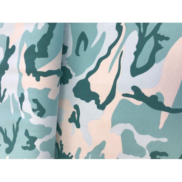 Jersey, camouflage mint/grøn/hvid, 119 kr pr m