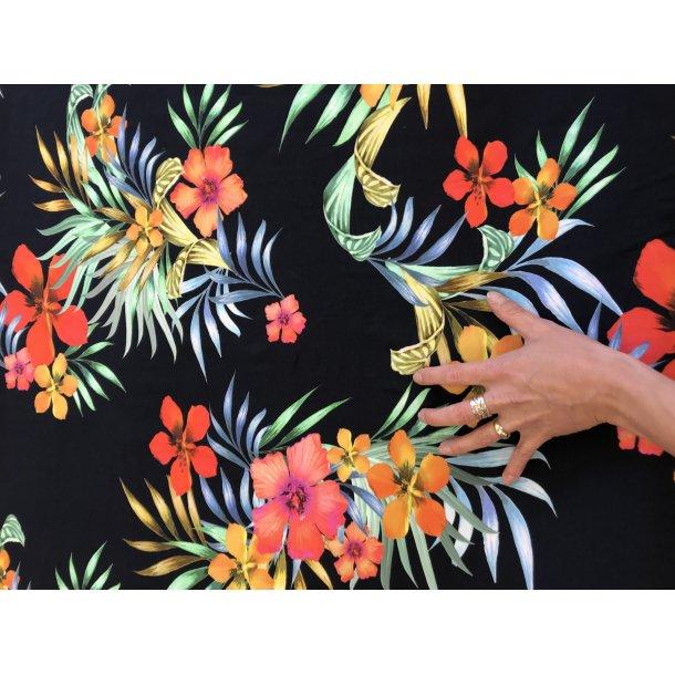 Jersey digital, med store blomster, super klare farver, marine bund