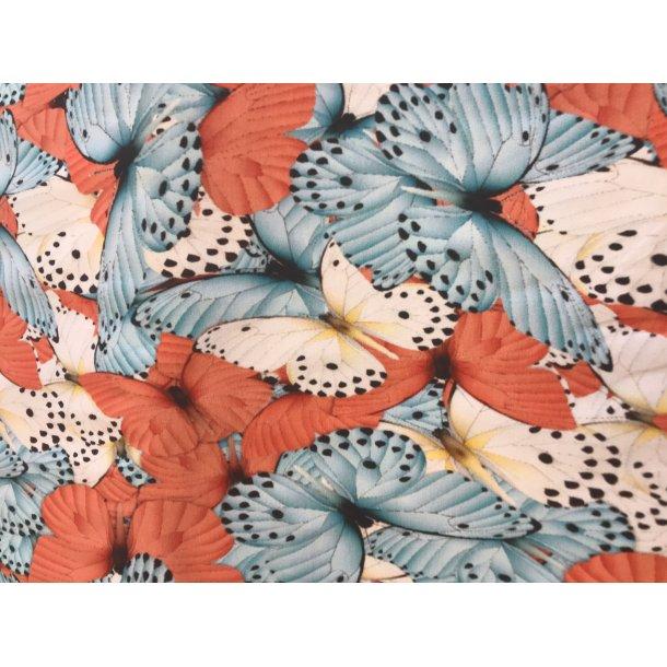 Jersey digital, sommerfugle blå koral sort, 145 kr pr m