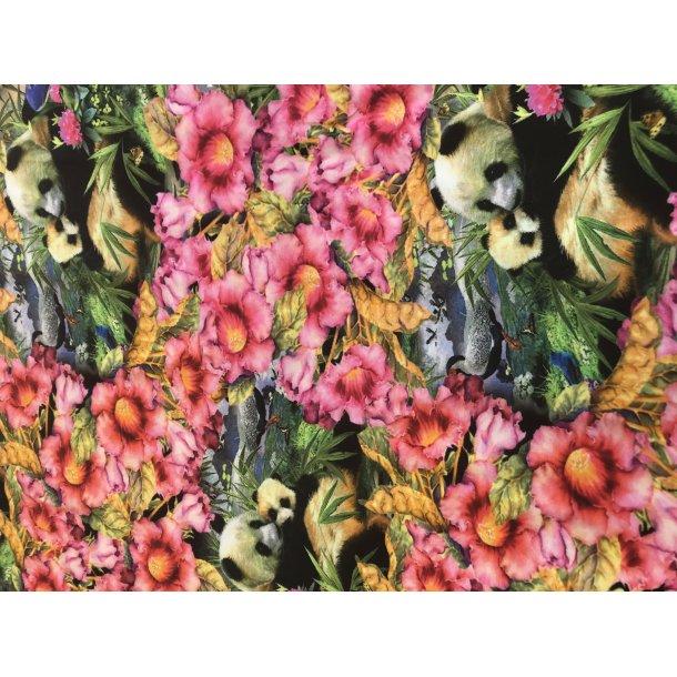 Jersey digital, blomster med søde pandaer