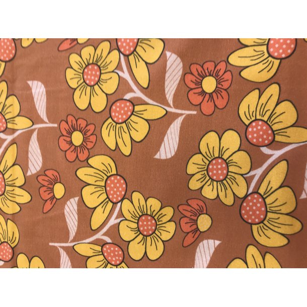 Jersey digital super retro tegnede blomster brune toner