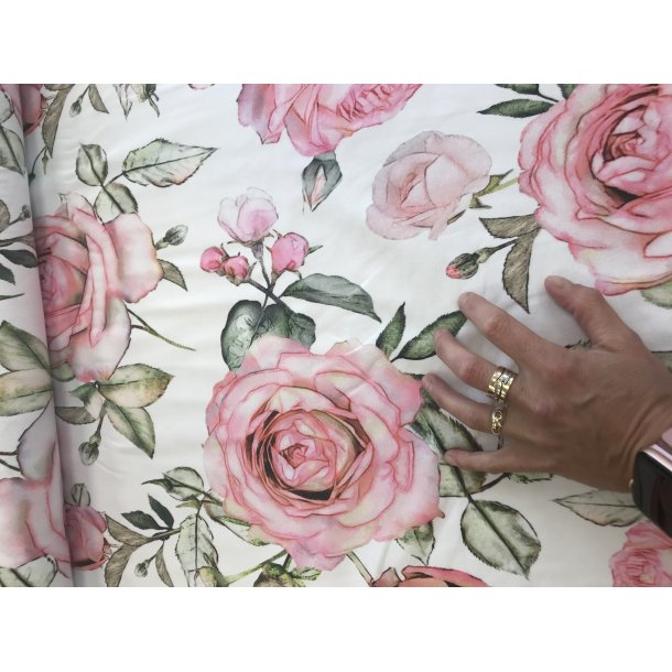 Jersey digital hvid bund med store rosa roser