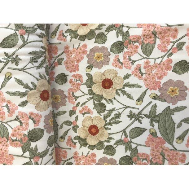 Jersey digital fine dush blomster i rosa farver lys bund
