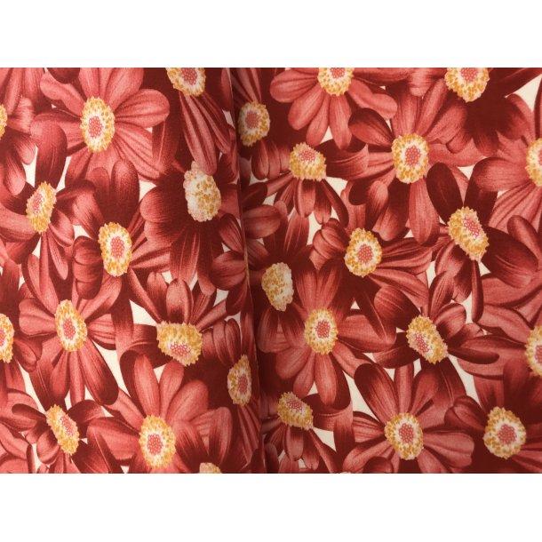 Jersey digital røde blomster 3 D effekt