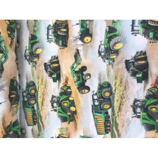 Jersey digital, små traktorer på mark, lys bund, 145 kr pr m
