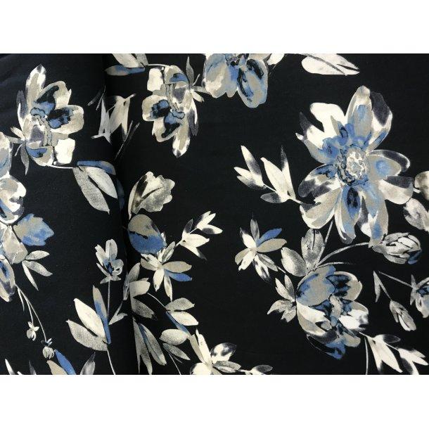 Jersey digital klassisk blomster print med mørk bund