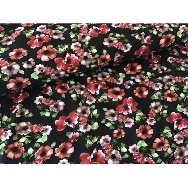 Jersey digital, Brændt orange/svag rød blomster og grønne små blade,sort bund