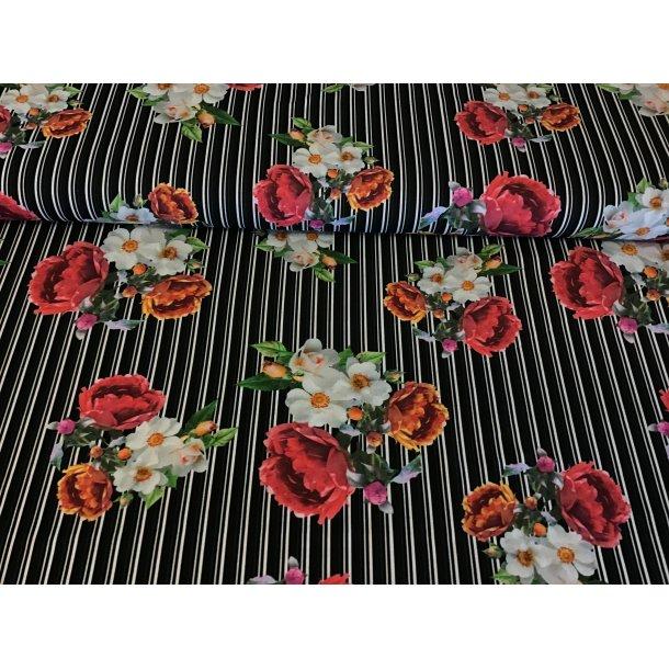 Jersey Digital, Blomster, sort/hvid strib