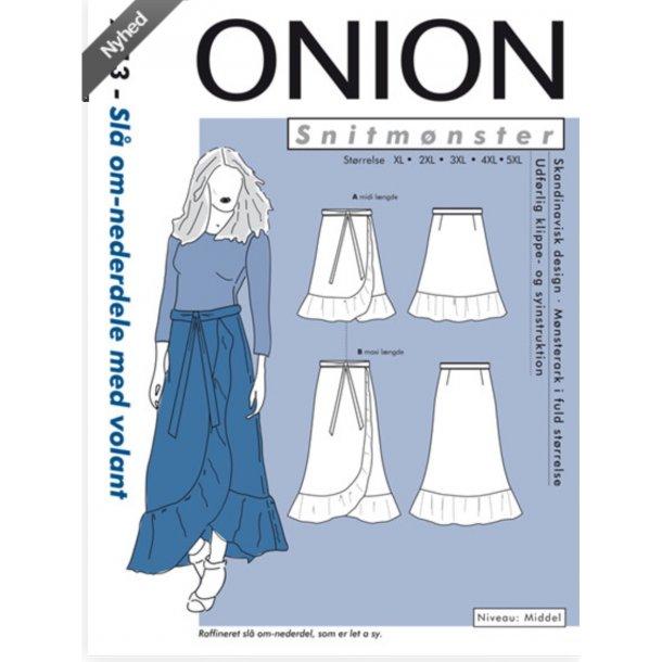 Onion 9013 Plus Size slå-om nederdel m/volant