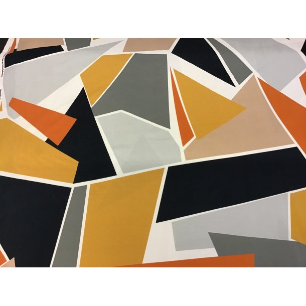 Jersey, Flot retro mosaik, orange, karry gul, grå, sort