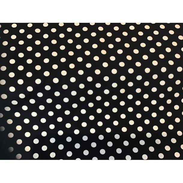 Jersey prik, 1 cm hvid, sort bund