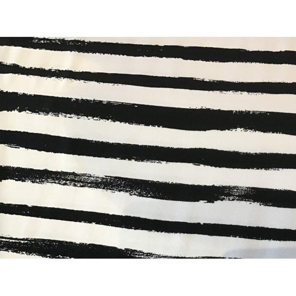 Jersey strib, Ujævn, sort/hvid