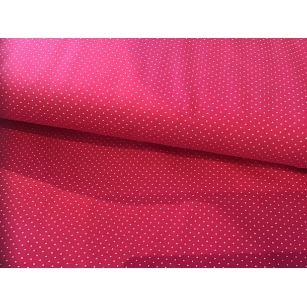 Jersey prik, Mini hvid, pink bund
