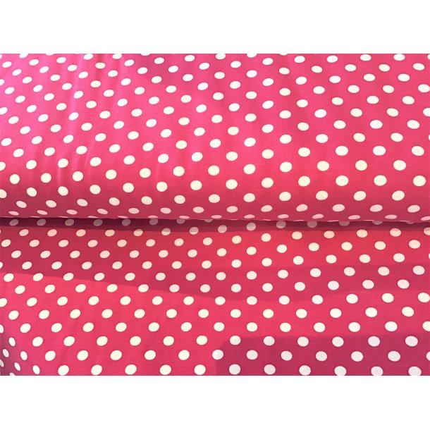 Jersey prik, 1 cm hvid, pink bund
