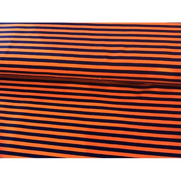 Jersey strib, Orange/marineblå