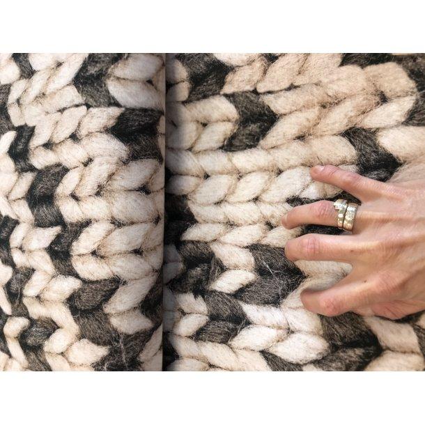 Jersey digital, strikket hvid / grå