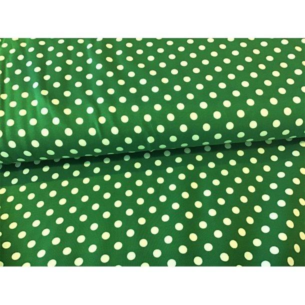 Jersey prik, 1 cm hvid, græs grøn bund