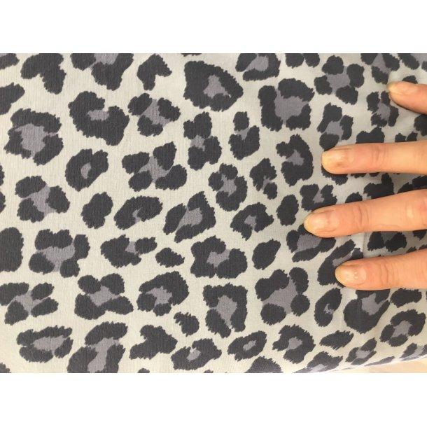 Jersey, leopard flot blå/grå på lysblå bund