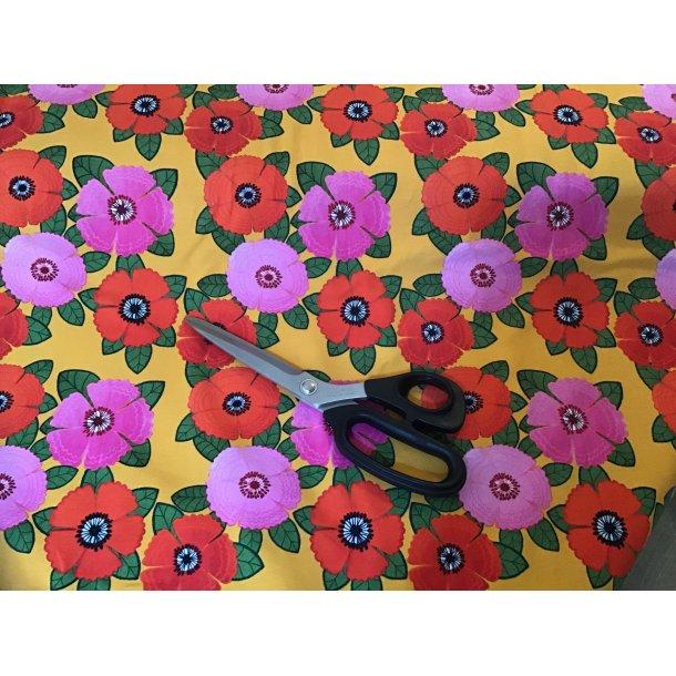 Jersey digital, Rød/fuchsia tegnet retro blomst, karry gul bund