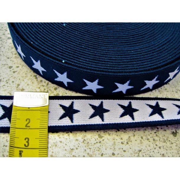 Elastik, Mørk marine blå m. hvide stjerner, 2 cm