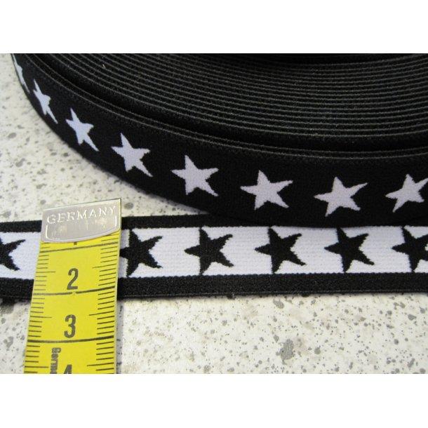 Elastik, Sort m. hvide stjerner, 2 cm