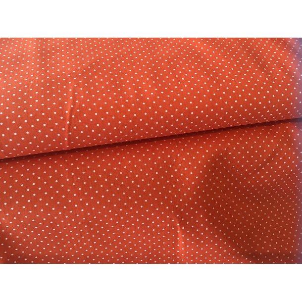 Fast bomuld, Orange bund, hvid mini prik