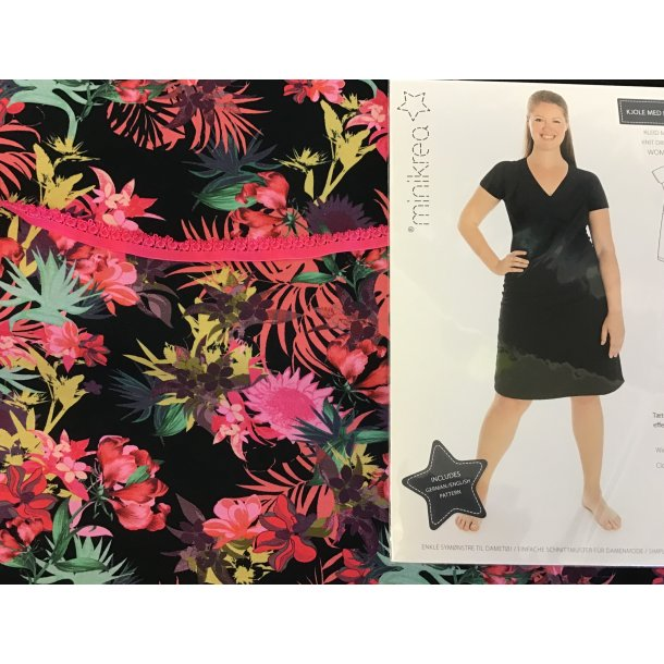 70042 pk, Til str. 34-40, jersey m. pink blomster/sort bund, pink pynte elastik, mønster