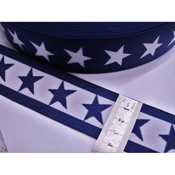 Elastik, Mørk marine blå m. hvid stjerner, 4 cm