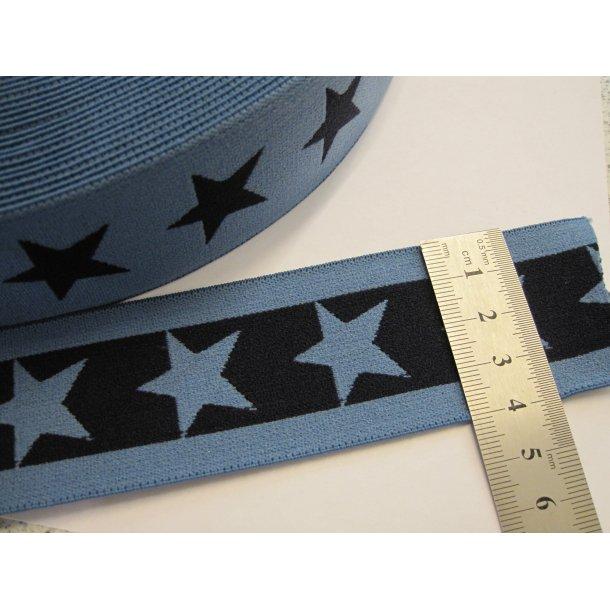 Elastik, Lys blå m. mørk blå stjerner, 4 cm