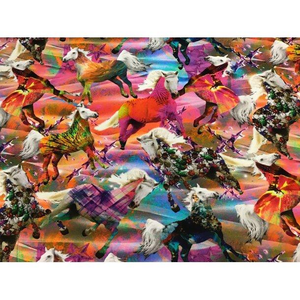 Jersey digital, hvide heste i regnbue farverne