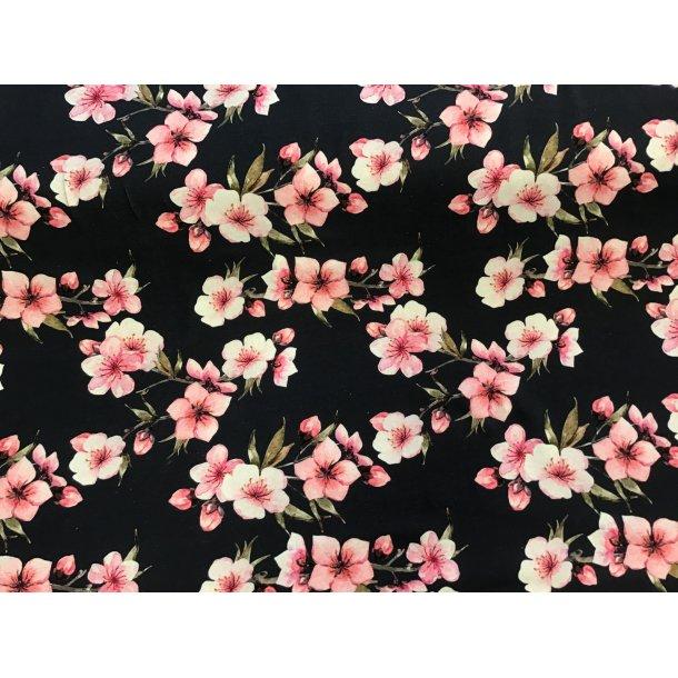 Jersey digital, lyserøde æble blomster, støvet blå bund