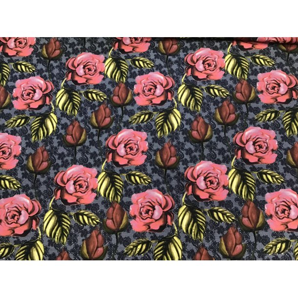 Jersey digital, gammel rosa roser, sort