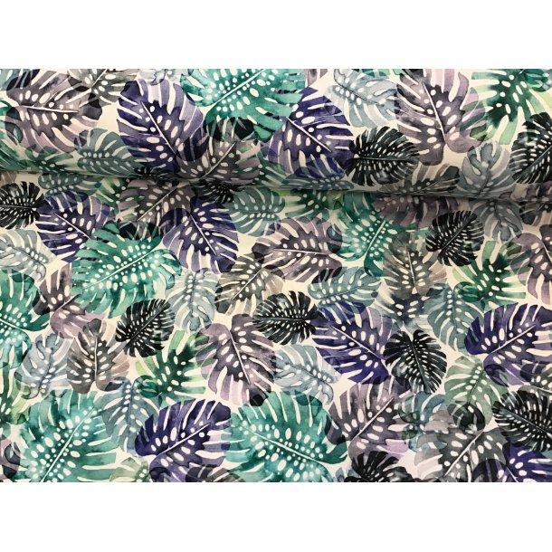 Jersey digital, fingerfilodendron, grøn/blå toner, hvid bund