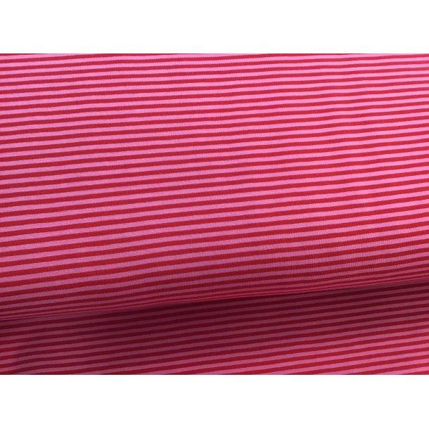 Jersey strib, smal lyserød/rød