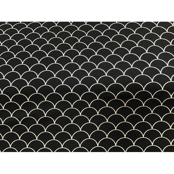 Jersey, hvide stregtegnede buer, sort bund