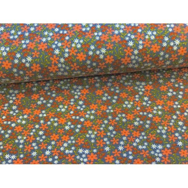 Jersey, små orange/hvid/rust blomster, grå bund