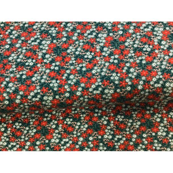 Jersey, små røde/lyserøde/hvide blomster,