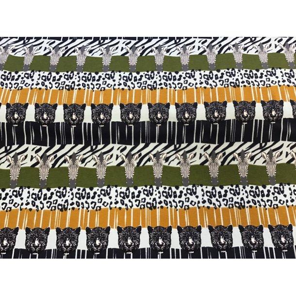 Jersey, zebra og leopard på army/karry og zebra/leopard stiber.