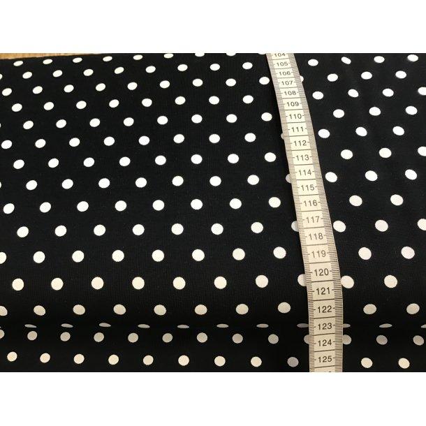 Jersey prik, 0,5 cm hvid prik, sort bund