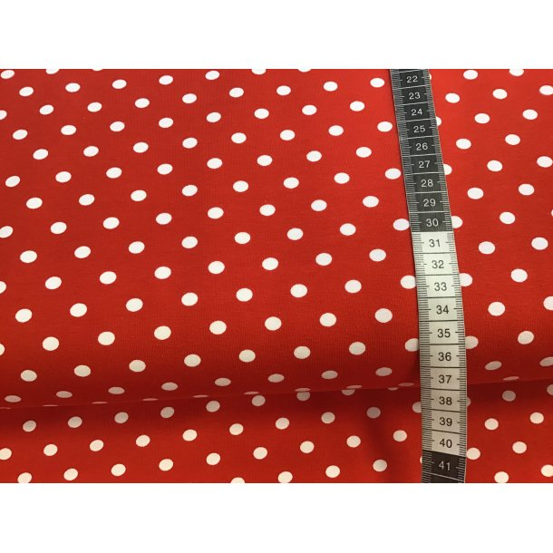 Jersey prik, 0,50 cm hvid, rød bund